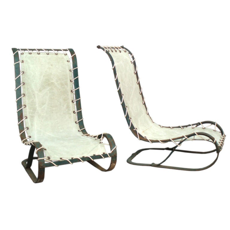 Pair of Cantilever Spring Steel Poolside Lounge Chairs For Sale