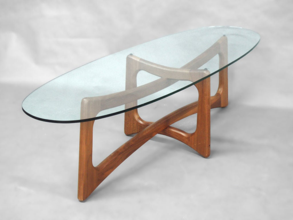 Walnut And Glass Surfboard Cocktail Table By Adrian Pearsall At 1stdibs