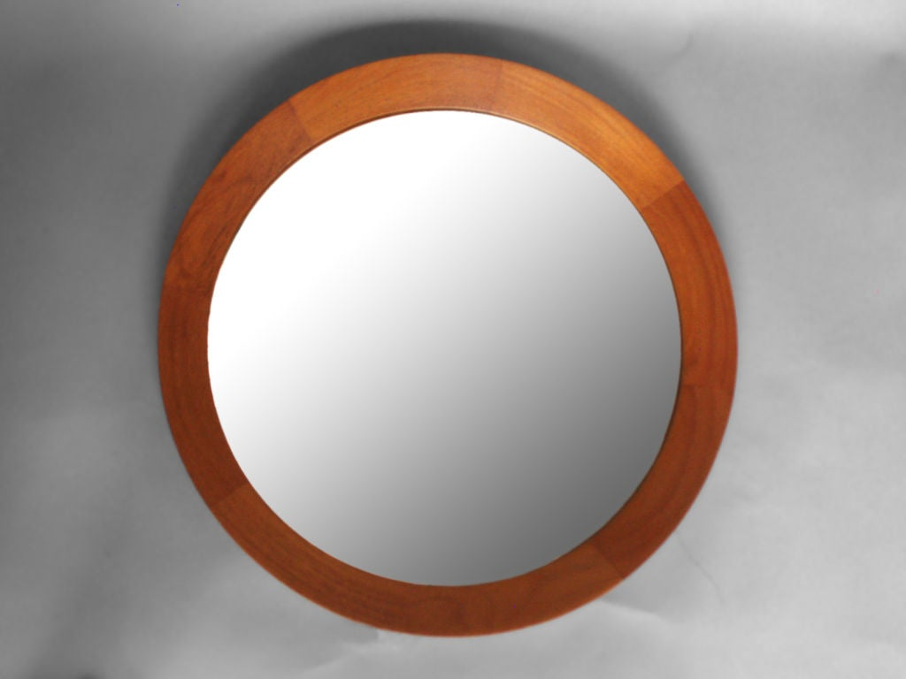 Teak framed round mirror at 1stdibs Round framed mirror
