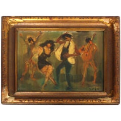 """Compact Oil on Board Painting """" Hippies """" Signed Golo"""