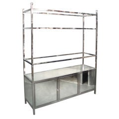 Large Polished Stainless Frame Mirror Door Etagere
