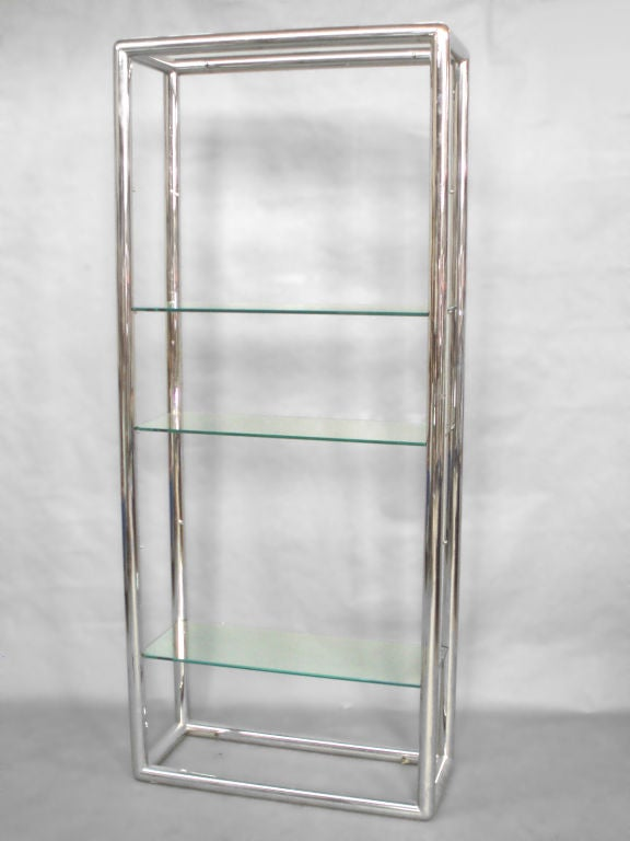Mid-Century Modern Glass and Polished Stainless Steel Shelf Unit Style of Milo Baughman For Sale
