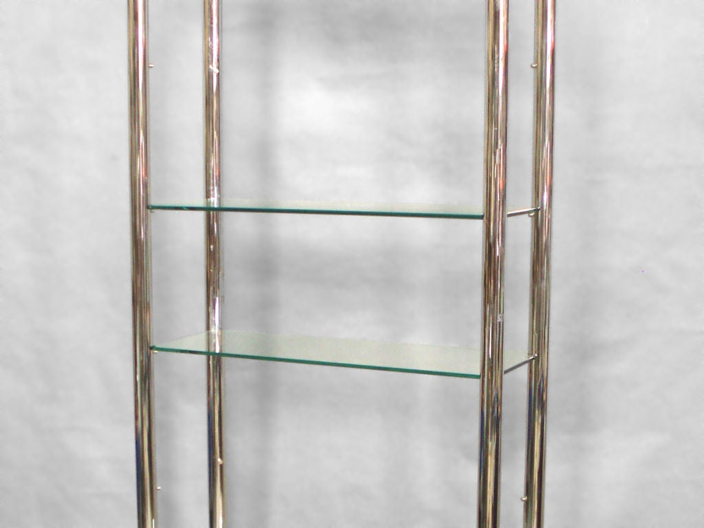 American Glass and Polished Stainless Steel Shelf Unit Style of Milo Baughman For Sale