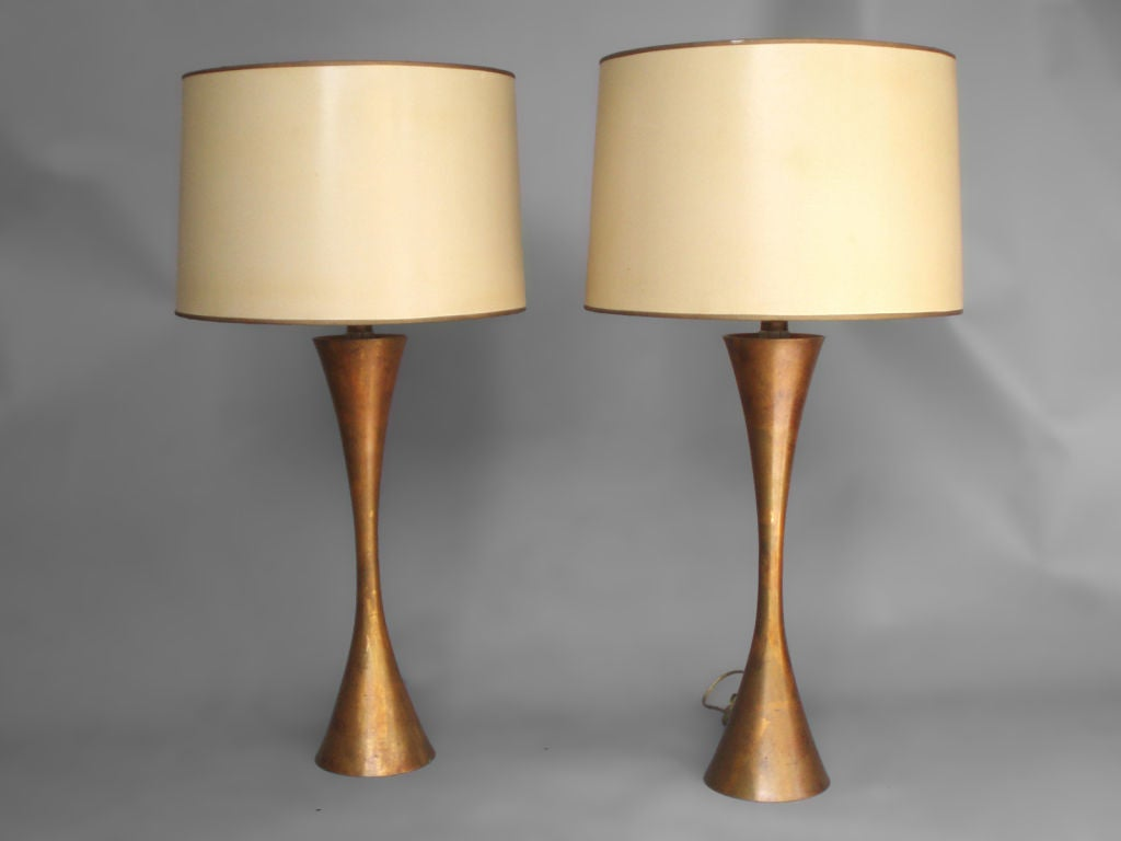Pair of hourglass form brass table lamps by Stewart Ross James for Hansen.