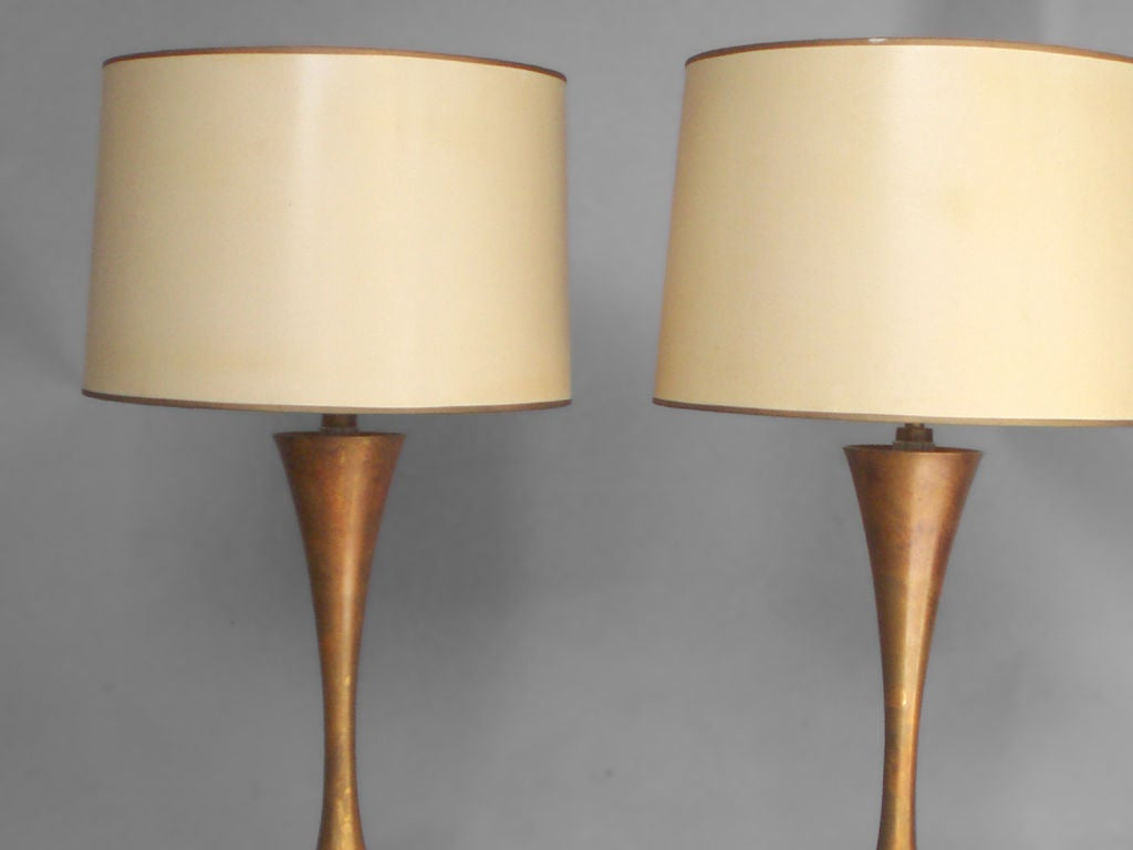 American Pair of Hourglass Form Brass Table Lamps by Stewart Ross James For Sale