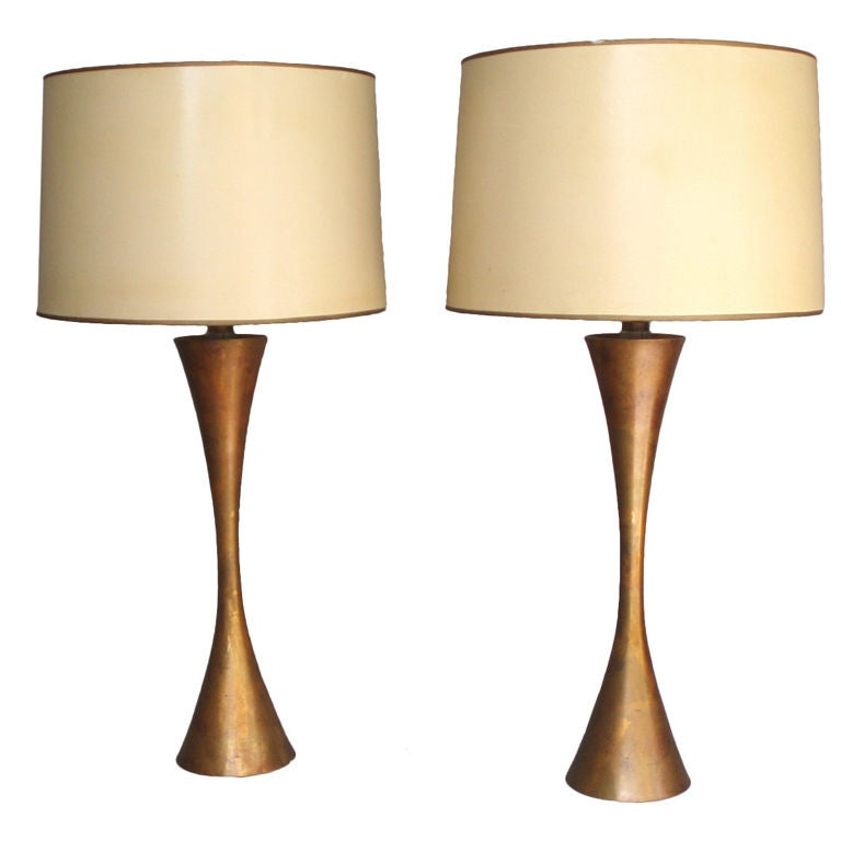 Pair of Hourglass Form Brass Table Lamps by Stewart Ross James