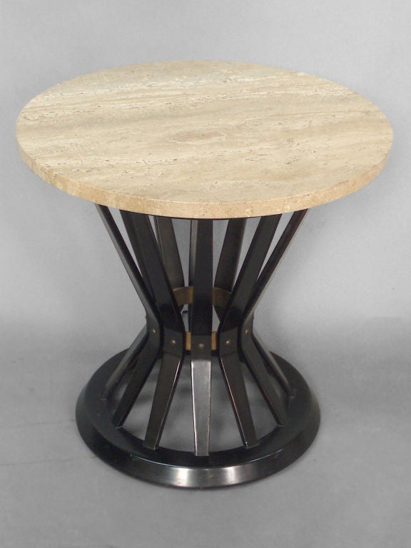 Mid-Century Modern Travertine Top Mahogany Side Table by Edward Wormley for Dunbar
