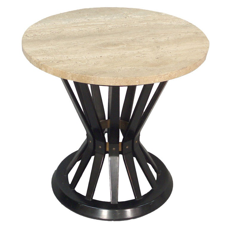 Travertine Top Mahogany Side Table by Edward Wormley for Dunbar