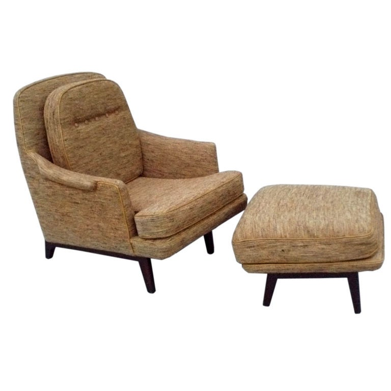 dunbar modernist reading chair and ottoman inspired by edward wormley for sale at 1stdibs. Black Bedroom Furniture Sets. Home Design Ideas
