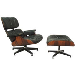 First Year Production Eames Lounge with Swivel Base Ottoman