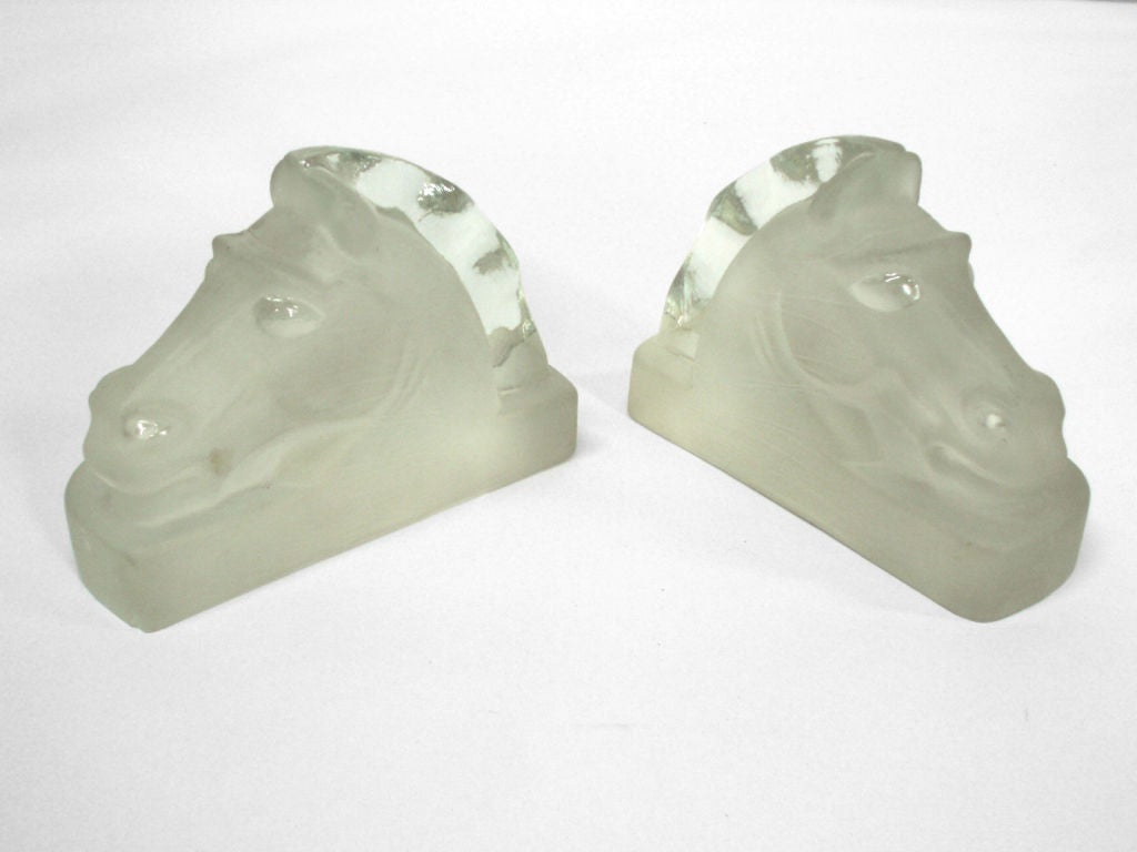 Cast glass Art Deco horse head bookends.