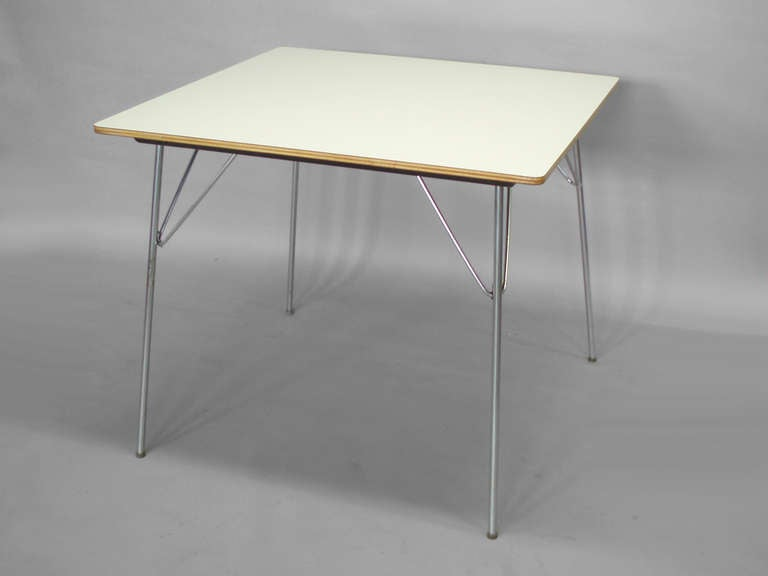 White Laminate Top DTM 20 Folding Dining Table By Charles And Ray Eames 2