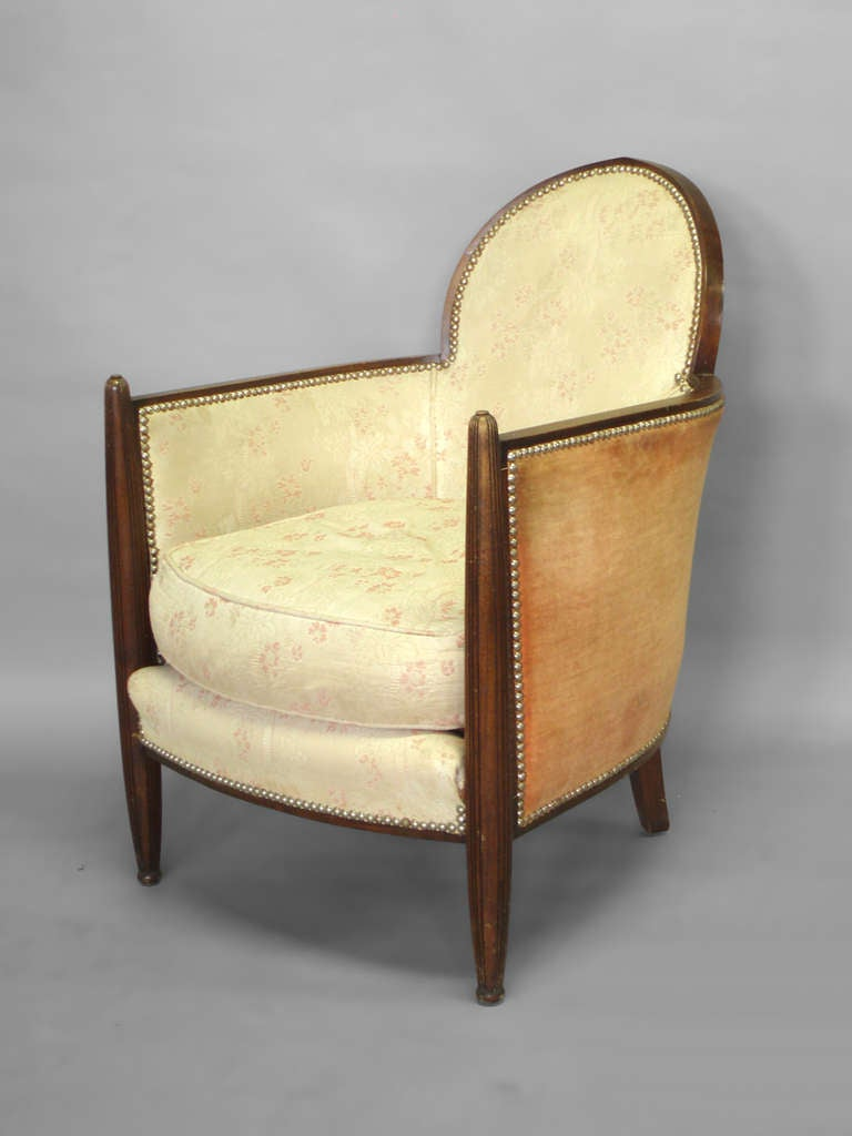 Fluted Front Art Deco Lounge Chair Attributed To Eugene