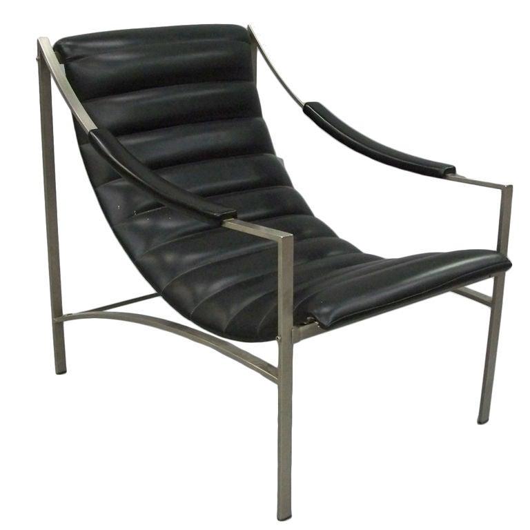 Italian Nickel Frame Sling Lounge Chair at 1stdibs