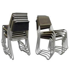 Set of 16 Aluminum Frame Canvas Stack Chairs by Jack Heaney