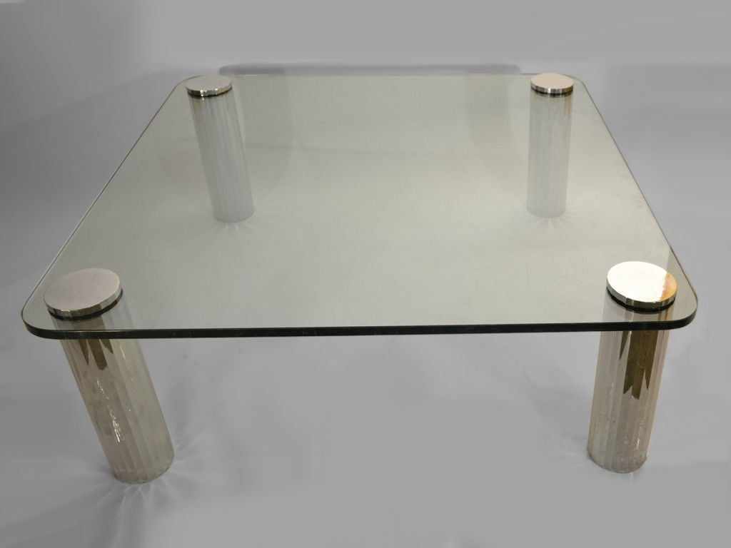 Thick Gl Top Coffee Table With Chrome Legs After Karl Springer 1