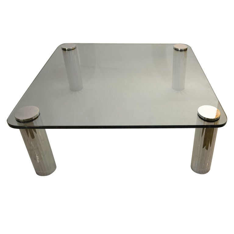 thick glass top coffee table with chrome tube legs at 1stdibs