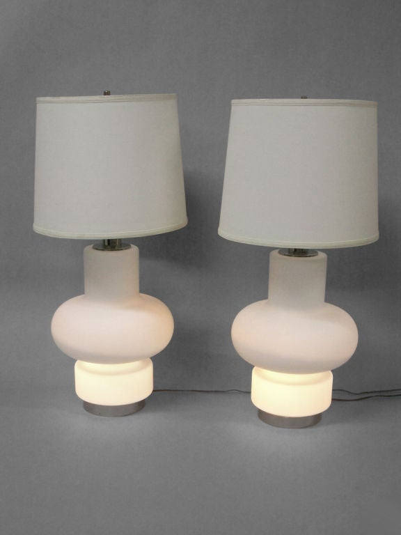 pair of modernist frosted italian glass table lamps by. Black Bedroom Furniture Sets. Home Design Ideas