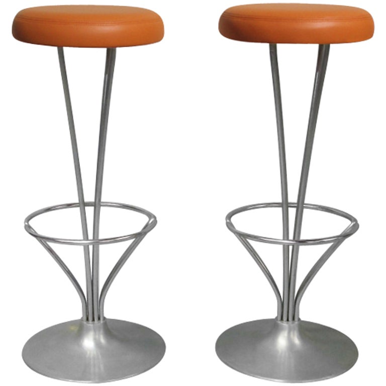 Chrome Barstools with Hermes Orange Leather Seat by Piet  : 8482133155492441 from 1stdibs.com size 768 x 768 jpeg 39kB