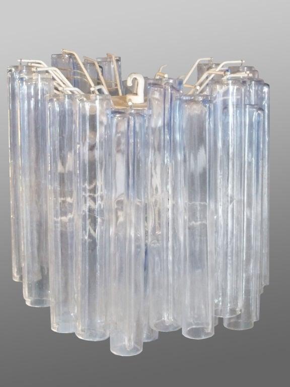 Italian glass entry pendant lamp by Venini, paper label Murano Venizia.