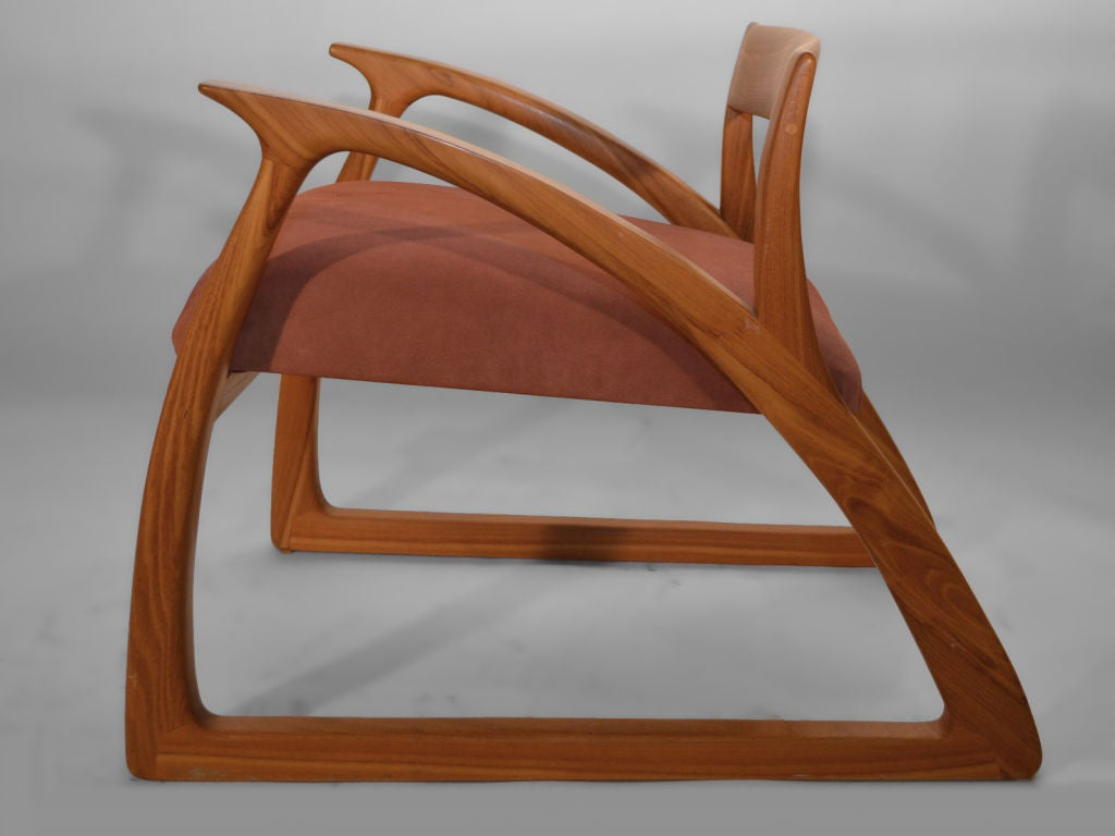 Studio hand made crafted wood arm lounge chair at stdibs