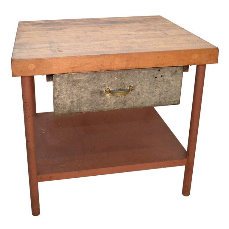 Kitchen Work Table Butcher Block : Industrial Kitchen Work Station Butcher Block Wood Top at 1stdibs