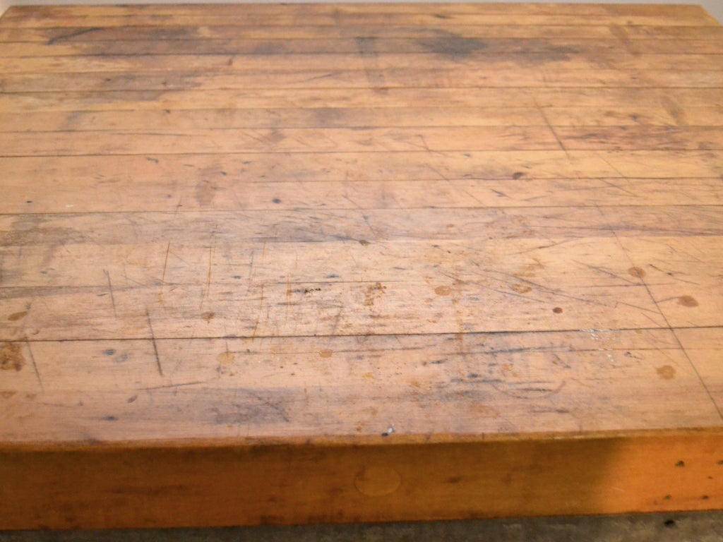 industrial kitchen work station butcher block wood top at