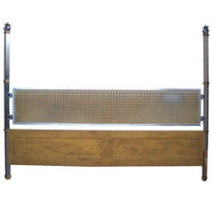Stainless Steel and Wood King Bed Headboard Attributed to John Vesey