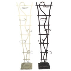Pair Tall Wrought Iron Plant Stands