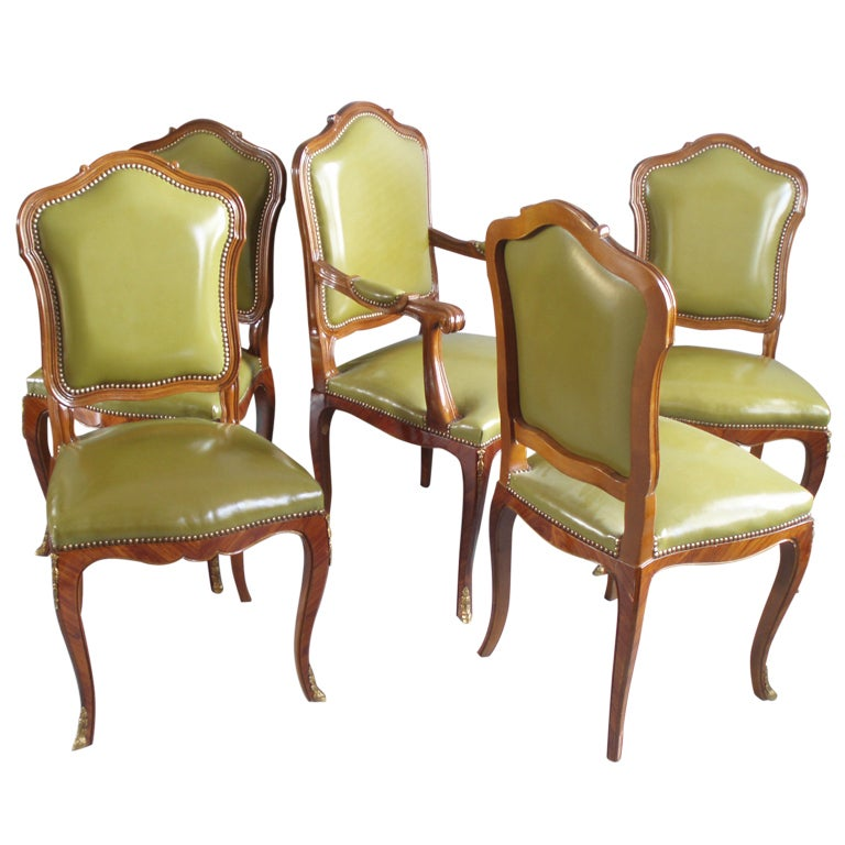 Set of Ten Louis XV Style Leather Dining Chairs at 1stdibs
