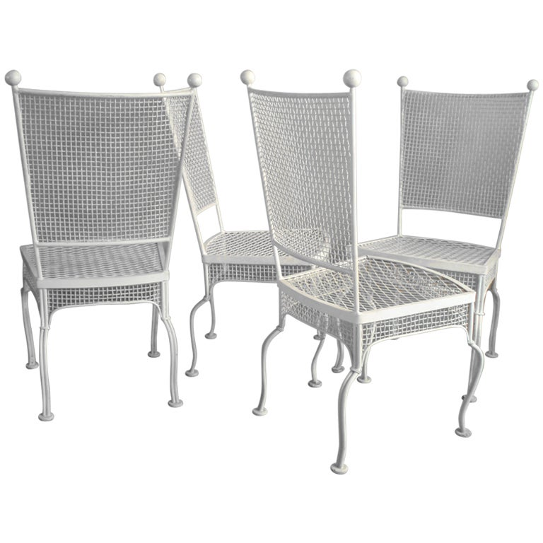 American Mid Century Modern Atomic Age Small Patio Round: Set Of Four Wrought Iron Dining Chairs By Woodard At 1stdibs