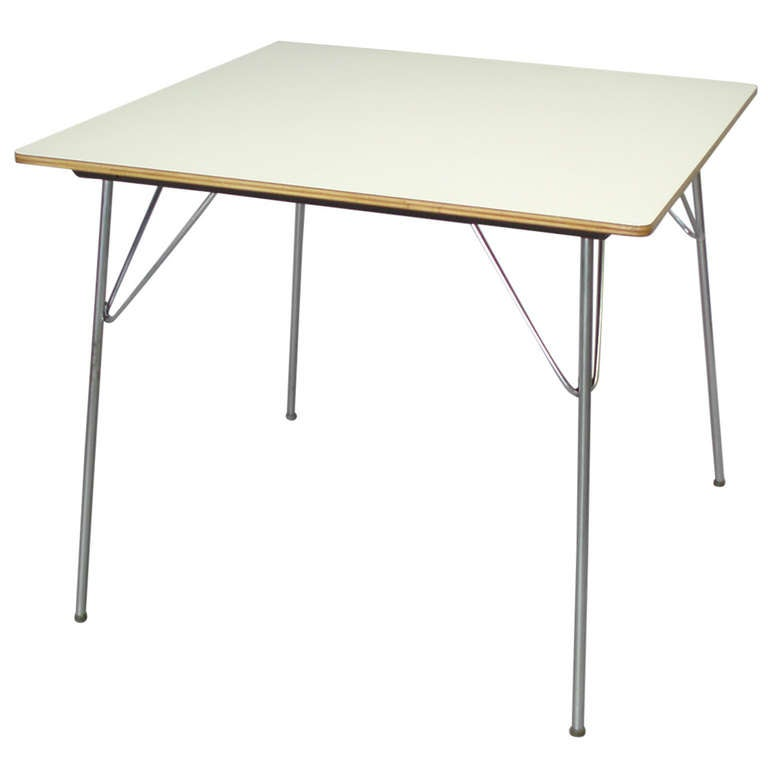 White laminate top dtm 20 folding dining table by charles and ray eames at 1stdibs - Laminate kitchen tables ...