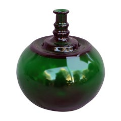 Bulbous Green Glass Vase by Kaj Franck