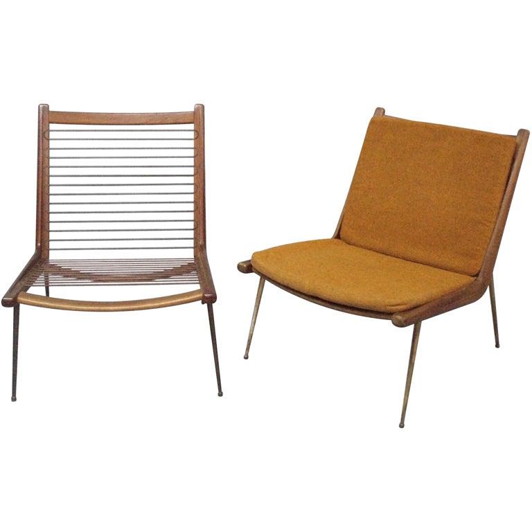 Pair of Brass Leg Teak Lounge Chairs by Peter Hvidt at 1stdibs