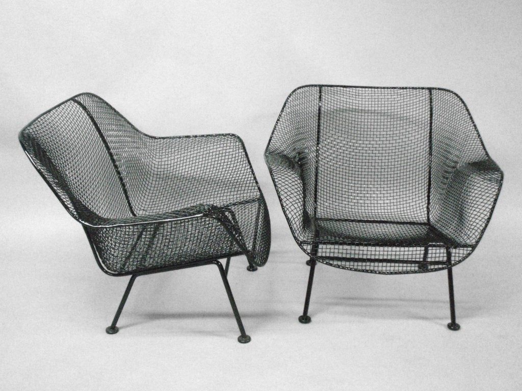 Pair Wrought Iron And Mesh Outdoor Lounge Chairs By Russell Lee Woodard For  Woodard