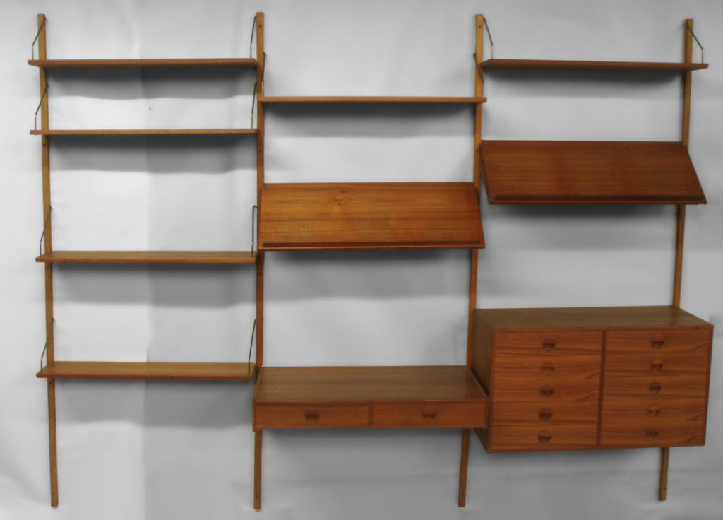 teak wall mounted storage shelves with cabinets at 1stdibs. Black Bedroom Furniture Sets. Home Design Ideas