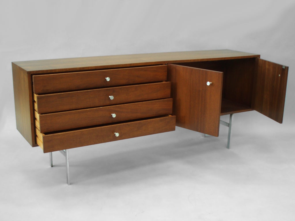 low narrow walnut entryway credenza by paul mccobb at 1stdibs