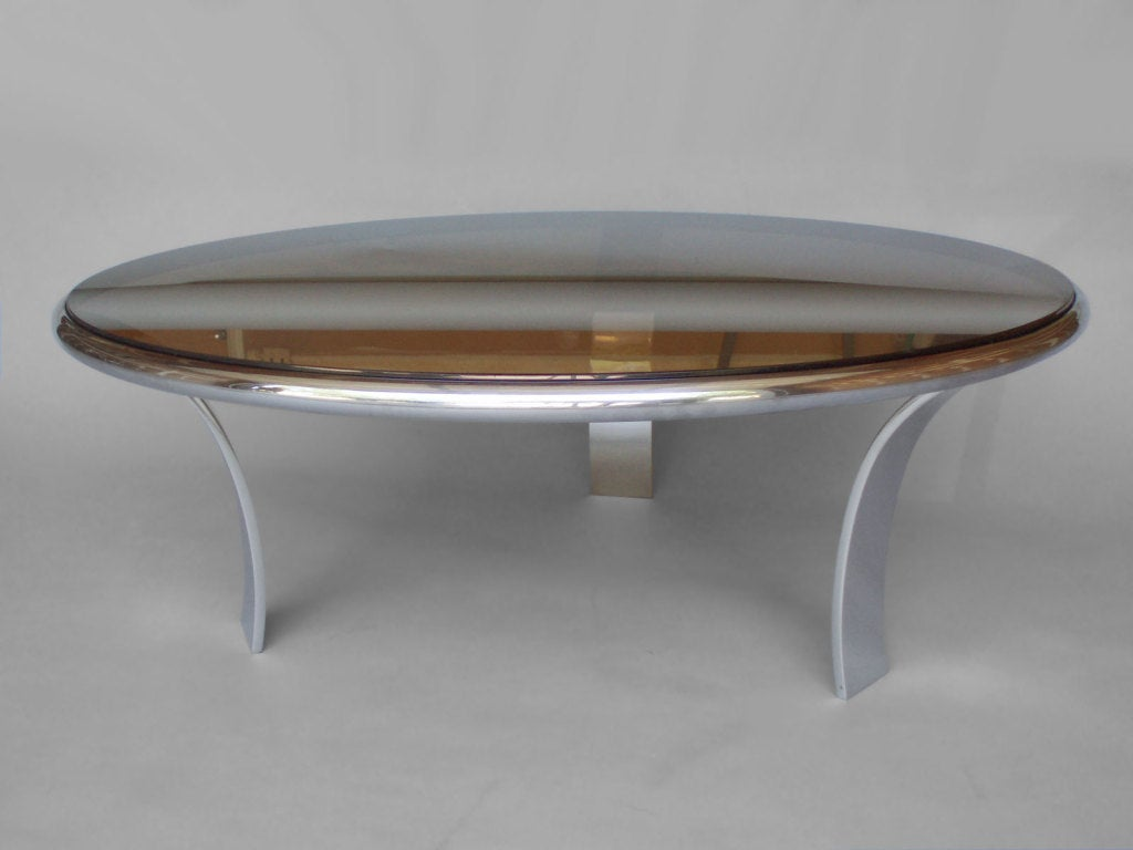 Stainless Steel Coffee Table Smoke Glass Top By Harold Leaver At 1stdibs