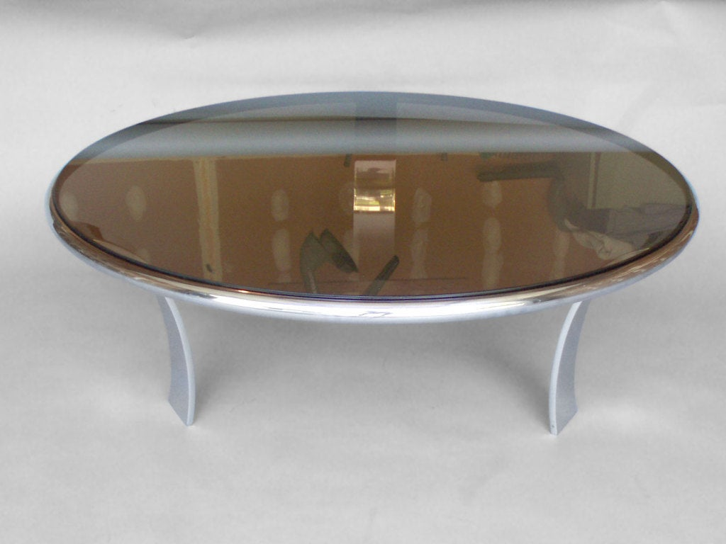 Stainless steel coffee table smoke glass top by harold leaver at 1stdibs Metal glass top coffee table