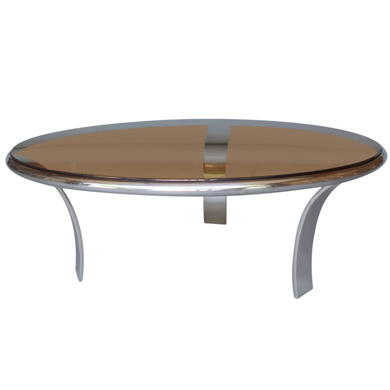 Round 3 Round Coffee Table Made Of Metal Cm ø80x23h: Stainless Steel Coffee Table Smoke Glass Top By Harold