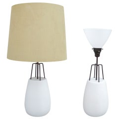 Pair of Matte White Pottery Table Lamps with Iron Detail