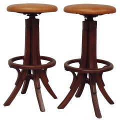 Pair of Bentwood Adjustable Height Bar Stools