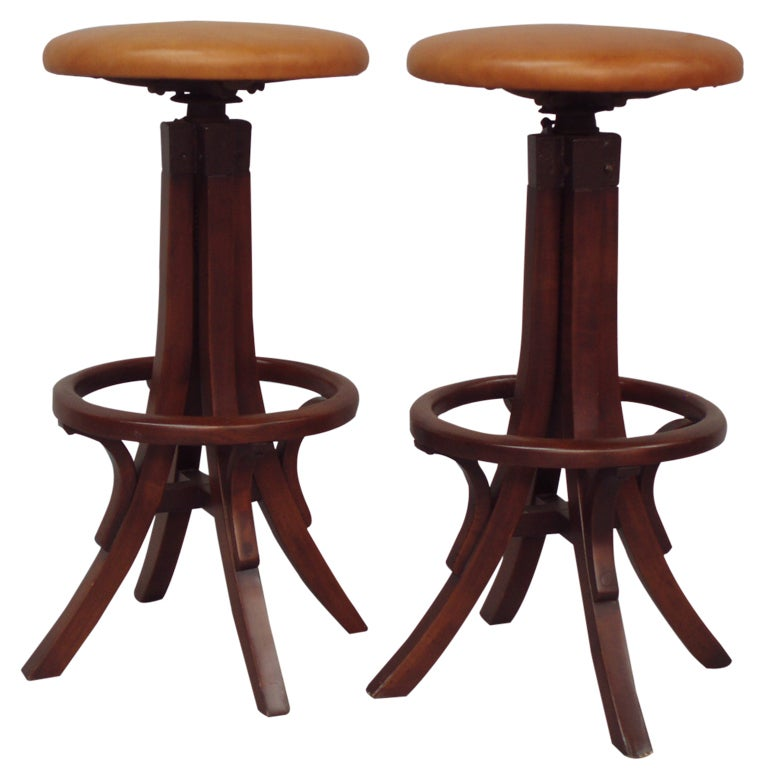 Pair Of Bentwood Adjustable Height Bar Stools At 1stdibs