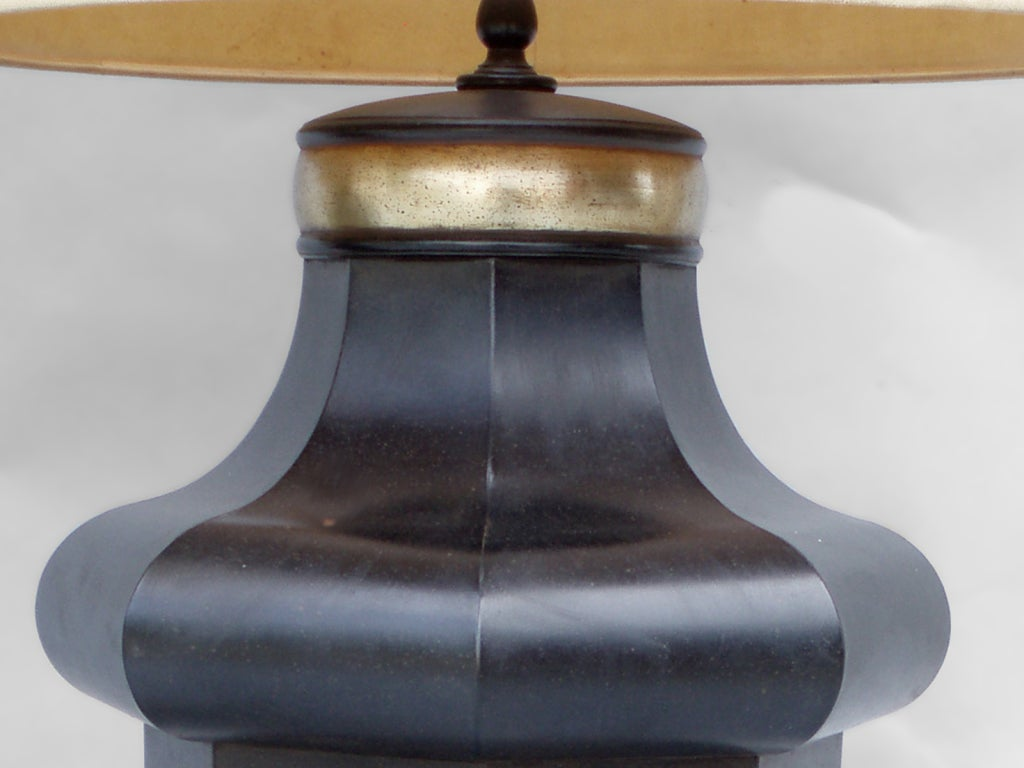 American Classical Over Scale Tin Toleware Table Lamps