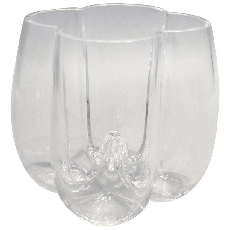 Modernist Crystal Clear Glass Vase Marked Orrefors