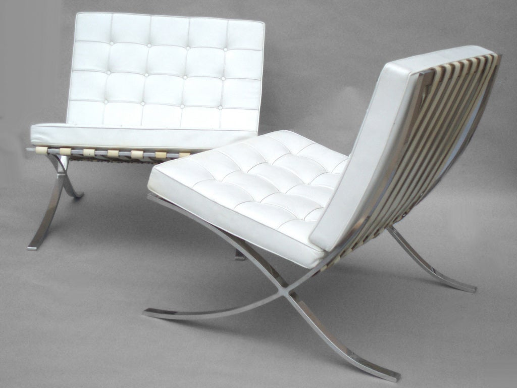 mies van der rohe barcelona chairs for knoll at 1stdibs. Black Bedroom Furniture Sets. Home Design Ideas