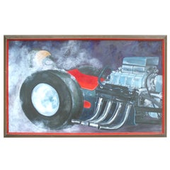 Naive Art Man Cave Car Painting of Supercharged Hemi Chrysler Hot Rod