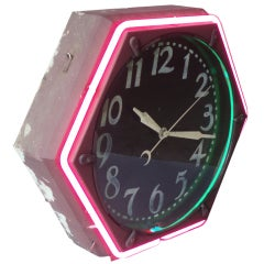 Early Gas Station Hexagon Neon Clock