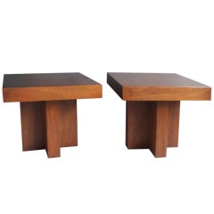 Pair Architecturally Inspired Walnut Tables by Milo Baughman