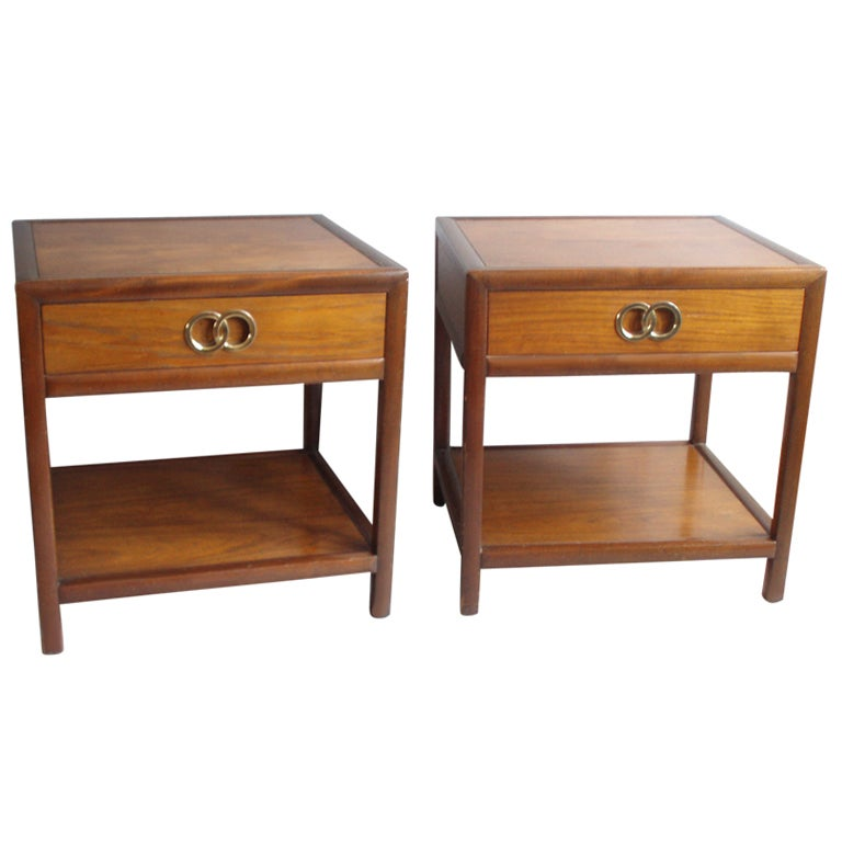 Pair Of Walnut One Drawer Night Stands By Michael Taylor
